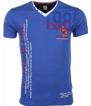 David Mello Italiaanse T-shirt - Korte Mouwen Heren - Borduur Polo Club - Blauw