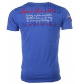 David Mello Italiaanse T-shirt - Korte Mouwen Heren - Borduur Polo Club - Blauw