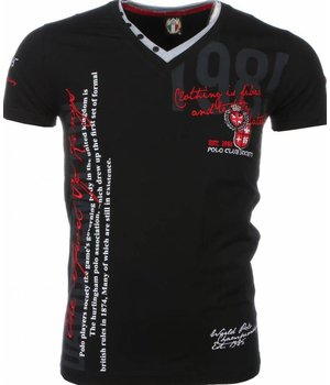 David Mello Italiaanse T-shirt - Korte Mouwen Heren - Borduur Polo Club - Zwart