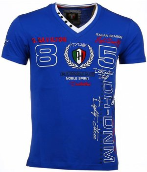 David Mello Italiaanse T-shirt - Korte Mouwen Heren - Borduur Automobile Club - Blauw