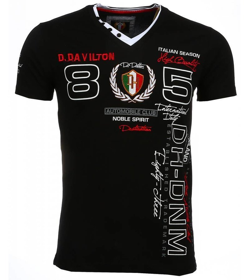 David Mello Italiaanse T-shirt - Korte Mouwen Heren - Borduur Automobile Club - Zwart