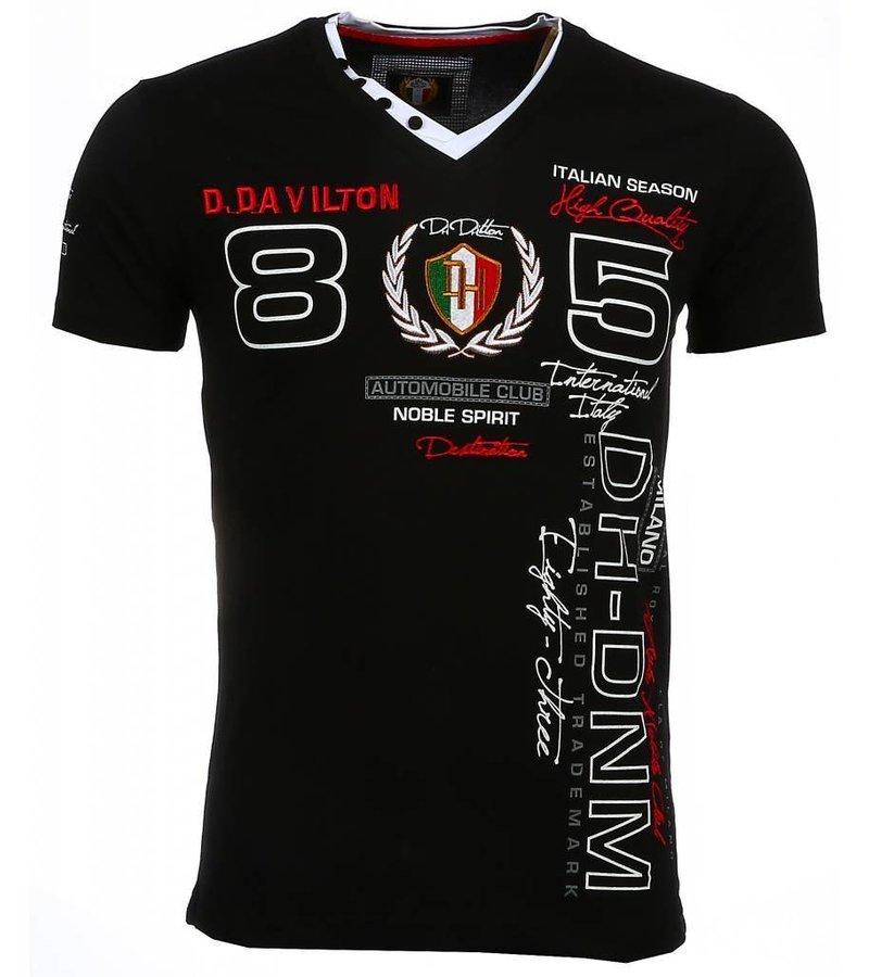 David Mello Italiaanse T-shirt - Korte Mouwen Heren - Borduur Automobile Club - Zwart