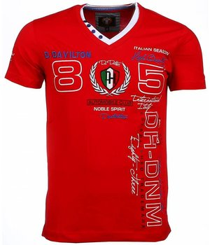 David Mello Italiaanse T-shirt - Korte Mouwen Heren - Borduur Automobile Club - Rood