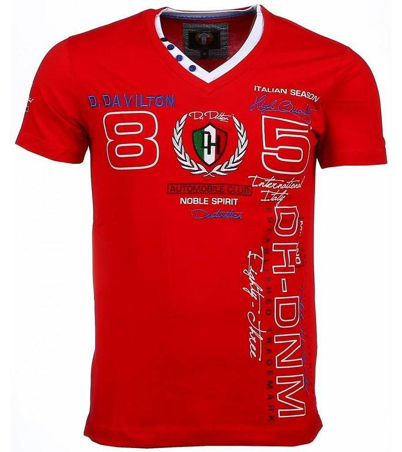 David Mello Italiaanse T-shirt - Korte Mouwen Heren - Borduur Automobile Club - Rood