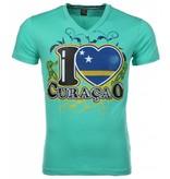 Mascherano T-shirt I Love Curacao - Groen