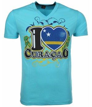 Mascherano T-shirt I Love Curacao - Blauw