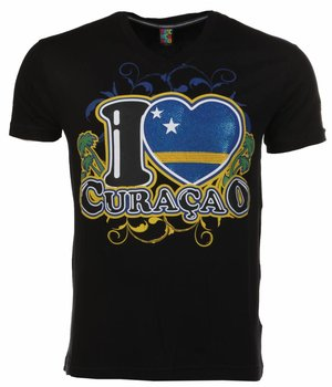 Mascherano T-shirt I Love Curacao - Zwart