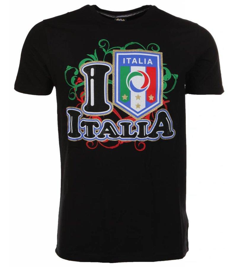 Mascherano T-shirt I Love Italia - Zwart