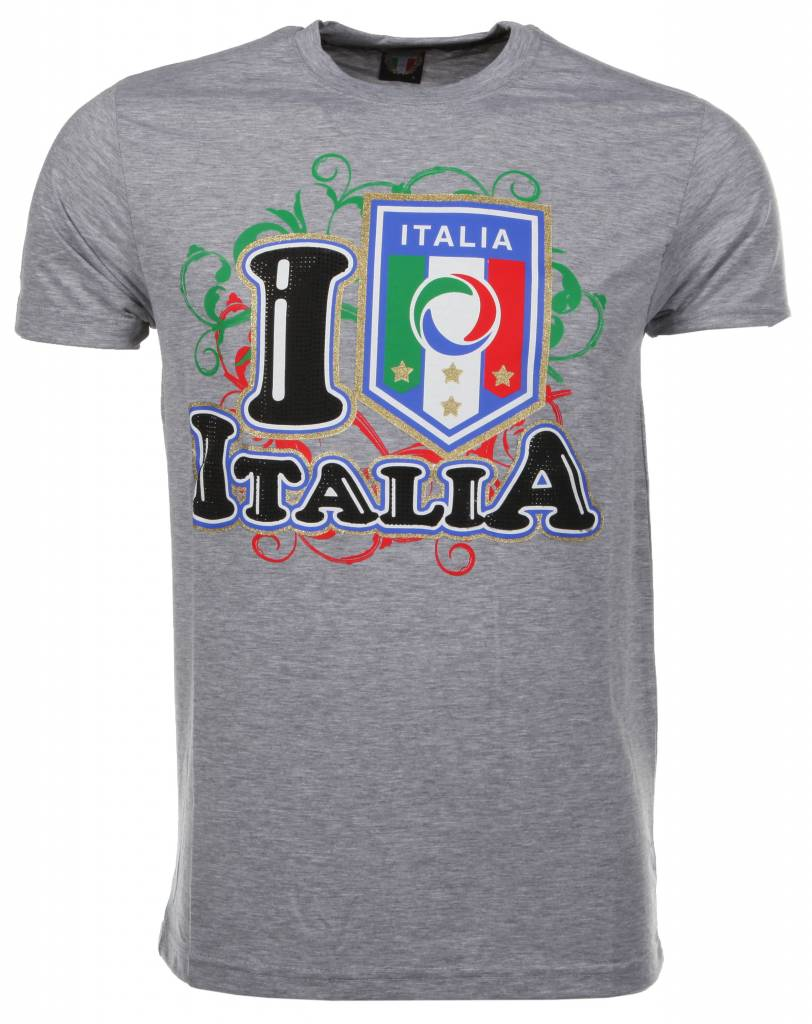 T-shirt I Love Italia - Grijs