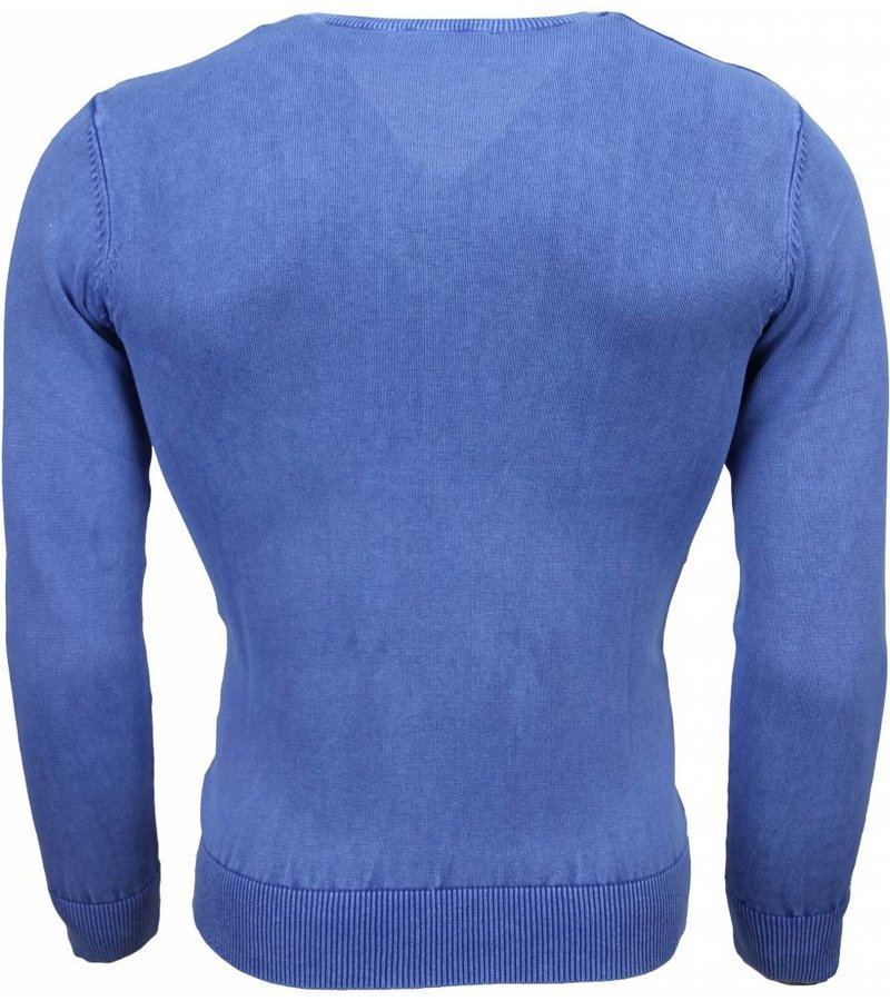 Brother-F Casual Trui - Exclusive Blanco V-Hals - Blauw