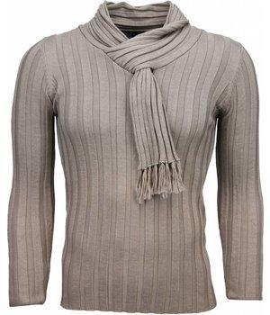 Belman Casual Trui - Sjaalkraag Design Strepen Motief - Beige