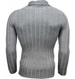 Belman Casual Trui - Sjaalkraag Design Strepen Motief - Donkergrijs