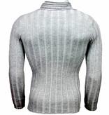Belman Casual Trui - Sjaalkraag Design Strepen Motief - Lichtgrijs