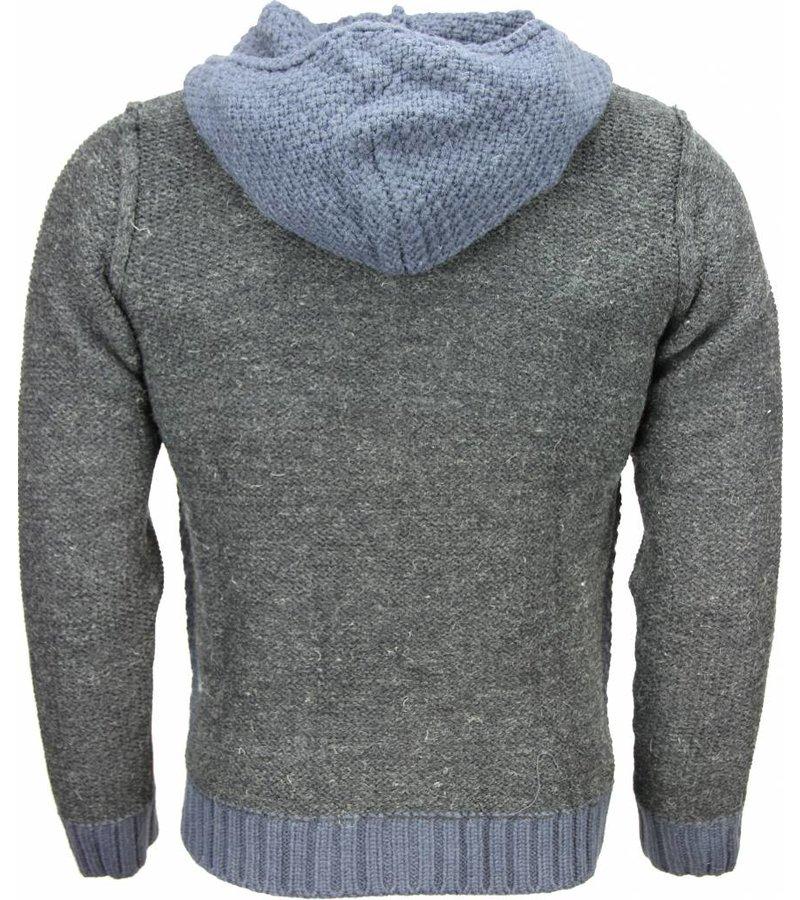 Enos Casual Vest - Breiwol Capuchon Twee Kleuren Blanco - Blauw