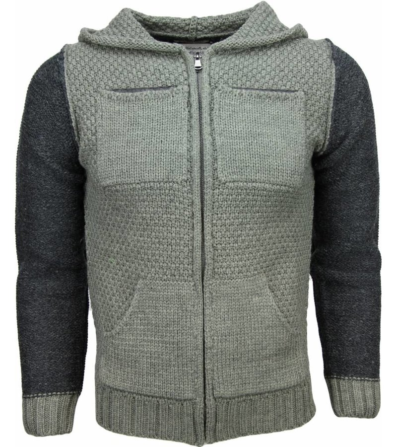 Enos Casual Vest - Breiwol Capuchon Twee Kleuren Blanco - Groen