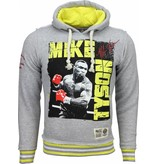 Mascherano Casual Hoodie - Mike Tyson Boxing Legend Print Capuchon - Grijs