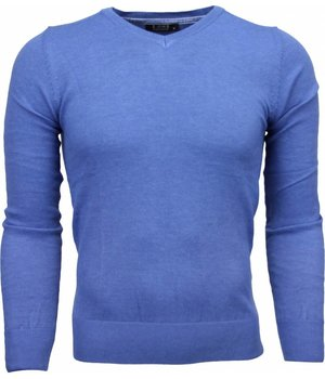 Zone Casual Trui - Exclusive Blanco V-Hals - Licht Blauw