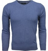 Zone Casual Trui - Exclusive Blanco V-Hals - Donker Blauw