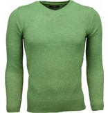 Zone Casual Trui - Exclusive Blanco V-Hals - Groen
