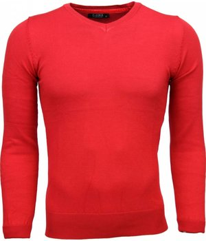 Zone Casual Trui - Exclusive Blanco V-Hals - Rood