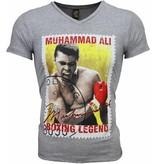 Mascherano T-shirt - Muhammad Ali Zegel Print - Grijs