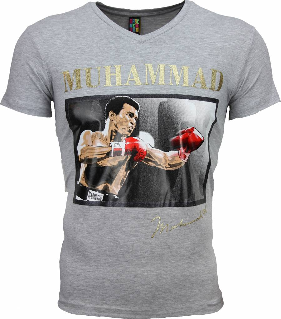 mascherano t shirt muhammad ali glossy print grijs. Black Bedroom Furniture Sets. Home Design Ideas