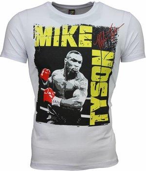 Mascherano T-shirt - Mike Tyson Glossy Print - Wit