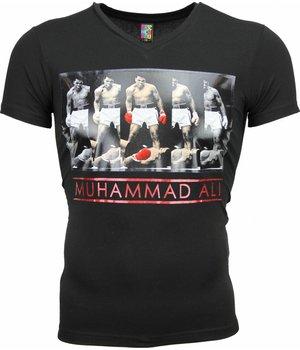 Mascherano T-shirt - Muhammad Ali Panorama Print - Zwart