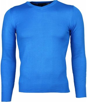 Bruno Leoni Casual Trui - Exclusive Blanco V-Hals - Blauw