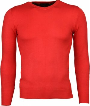 Bruno Leoni Casual Trui - Exclusive Blanco V-Hals - Rood