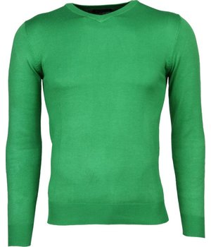 Bruno Leoni Casual Trui - Exclusive Blanco V-Hals - Groen