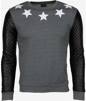 Dontoki Denim Star Neck Pu Stiched Arm - Sweater - Grijs