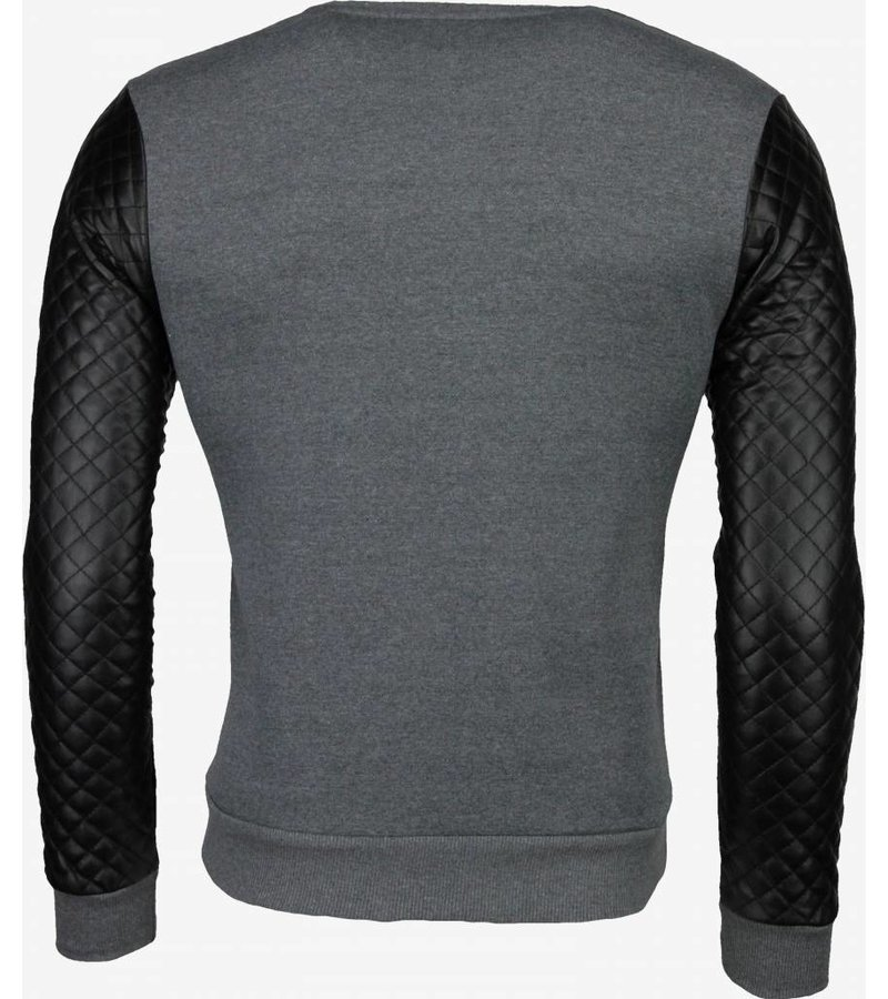 Dontoki Denim Star Neck Pu Stiched Arm - Sweater - Grijs