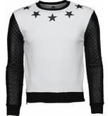 Gov-Denim Star Neck Pu Stiched Arm - Sweater - Wit