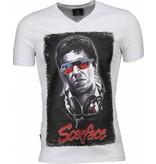 Local Fanatic Scarface Headphone Print - T-shirt - Wit