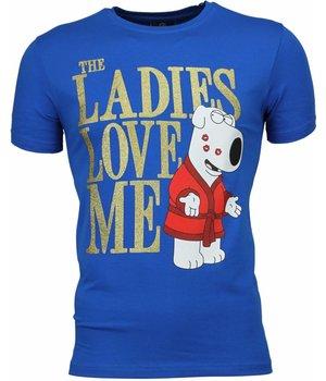 Mascherano T-shirt - The Ladies Love Me Print - Blauw