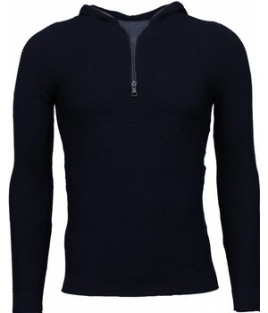 Enos Long Tee Ribbels - Sweater - Zwart