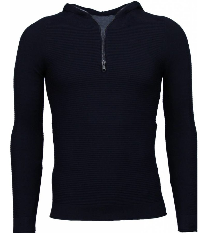 Enos Long Tee Ribbels - Sweater - Blauw