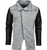 Belman Casual Vest - Long Leather Sleeves - Licht Grijs