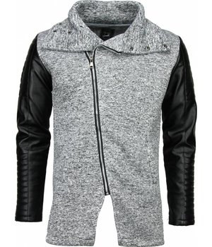 Belman Casual Vest - Long Leather Sleeves - Licht Grijs