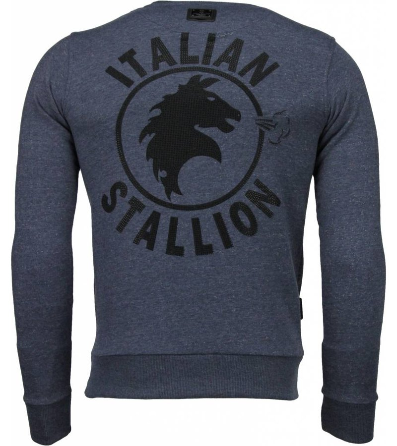 Local Fanatic Rocky Balboa - Rhinestone Sweater - Blauw