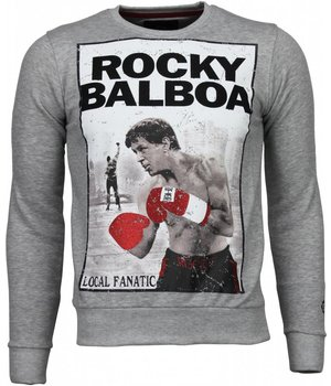 Local Fanatic Rocky Balboa - Rhinestone Sweater - Grijs
