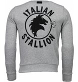 Local Fanatic Rocky Balboa - Rhinestone Sweater - Grijs