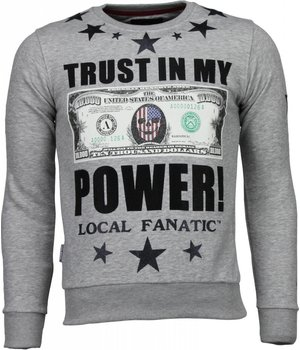 Local Fanatic Trust In My Power! - Rhinestone Sweater - Grijs