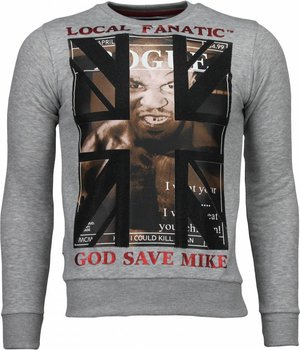 Local Fanatic Mike Tyson - Rhinestone Sweater - Grijs