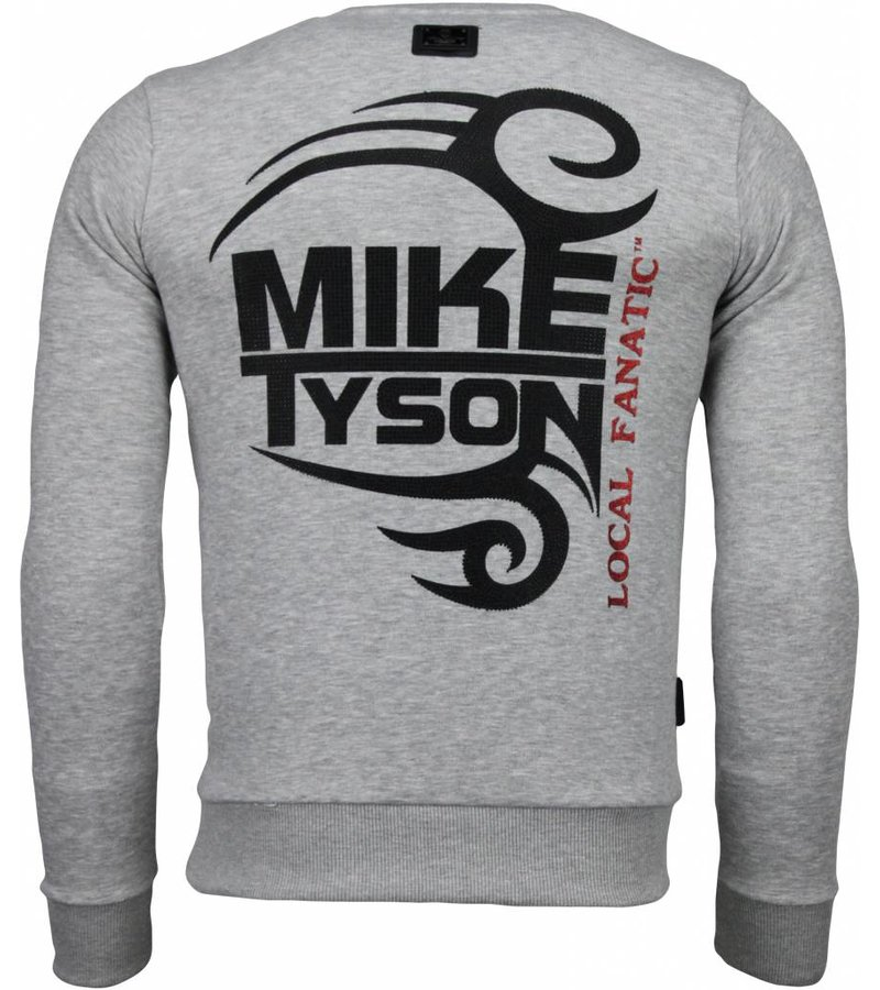Local Fanatic Mike Tyson - Rhinestone Sweater - Grijs