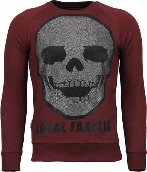 Local Fanatic Skull Legend - Rhinestone Sweater - Bordeaux