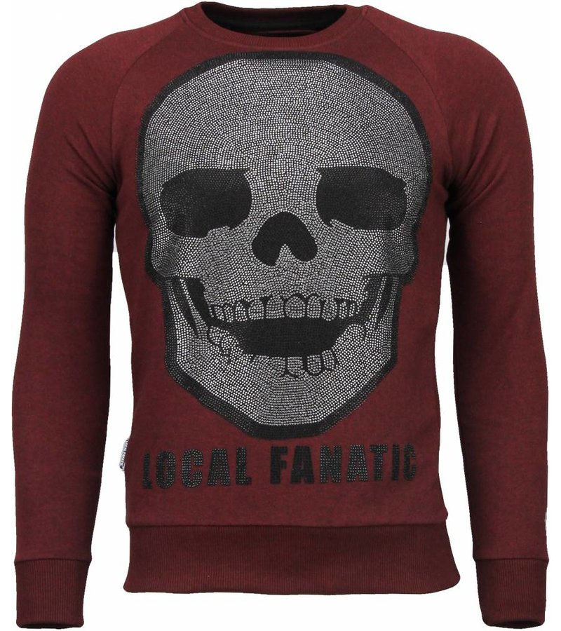 Local Fanatic Skull Legend - Rhinestone Sweater - Bordeaux