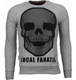 Local Fanatic Skull Legend - Rhinestone Sweater - Grijs