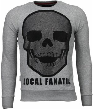 Local Fanatic Skull Legend - Rhinestone Sweater - Grijs
